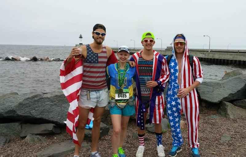 Natasha Bazilevych pictured with friends after running Grandma's Marathon in 2015.